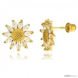 "14k Yellow Gold 3/8"" (10mm) tall Sunflower Stud Earrings, w/ Marquise Cut CZ Stones"