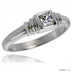 Sterling Silver .30 Carat Size Princess Cut Cubic Zirconia Solitaire Bridal Ring