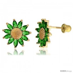 "14k Yellow Gold 3/8"" (10mm) tall Sunflower Stud Earrings, w/ Marquise Cut Emerald-colored CZ Stones"