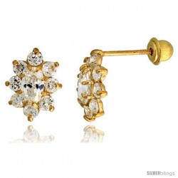 "14k Yellow Gold 3/8"" (10mm) tall Flower Stud Earrings, w/ Oval & Brilliant Cut CZ Stones"