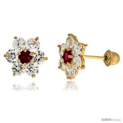 "14k Yellow Gold 5/16"" (9mm) tall Flower Stud Earrings, w/ Brilliant Cut Clear & Ruby-colored CZ Stones"
