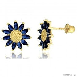 """14k Yellow Gold 3/8"""" (10mm) tall Sunflower Stud Earrings, w/ Marquise Cut Blue Sapphire-colored CZ Stones"""