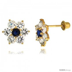 "14k Yellow Gold 5/16"" (9mm) tall Flower Stud Earrings, w/ Brilliant Cut Clear & Blue Sapphire-colored CZ Stones"