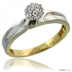 10k Yellow Gold Diamond Engagement Ring 0.05 cttw Brilliant Cut, 1/8 in wide -Style 10y008er