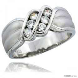 Sterling Silver Cubic Zirconia Mens Wedding Band Ring Channel Set, 5/16 in wide