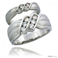 Sterling Silver Cubic Zirconia Wedding Band Ring 2-Piece Set 8 mm Him & Hers 4.5 mm Channel Set