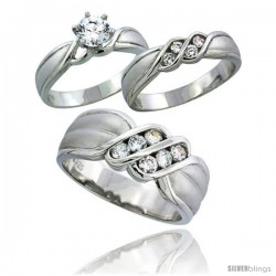 Sterling Silver Cubic Zirconia Trio Engagement Wedding Ring Set for Him & Her 8 mm Channel Set, L 5 - 10 & M 8 - 14