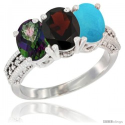 14K White Gold Natural Mystic Topaz, Garnet & Turquoise Ring 3-Stone 7x5 mm Oval Diamond Accent