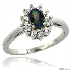 14k White Gold Mystic Topaz Diamond Halo Ring Oval Shape 1.2 Carat 6X4 mm, 1/2 in wide
