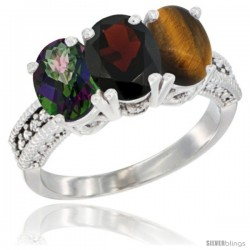 14K White Gold Natural Mystic Topaz, Garnet & Tiger Eye Ring 3-Stone 7x5 mm Oval Diamond Accent