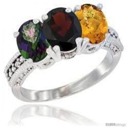 14K White Gold Natural Mystic Topaz, Garnet & Whisky Quartz Ring 3-Stone 7x5 mm Oval Diamond Accent