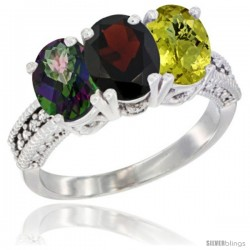 14K White Gold Natural Mystic Topaz, Garnet & Lemon Quartz Ring 3-Stone 7x5 mm Oval Diamond Accent
