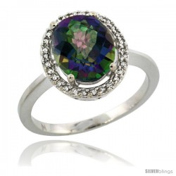 14k White Gold Diamond Halo Mystic Topaz Ring 2.4 carat Oval shape 10X8 mm, 1/2 in (12.5mm) wide
