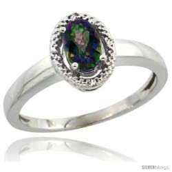 14k White Gold Diamond Halo Mystic Topaz Ring 0.75 Carat Oval Shape 6X4 mm, 3/8 in (9mm) wide
