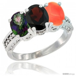 14K White Gold Natural Mystic Topaz, Garnet & Coral Ring 3-Stone 7x5 mm Oval Diamond Accent
