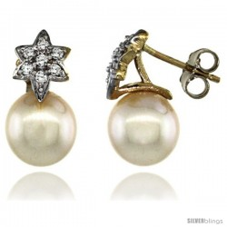14k Gold Flower Pearl Earrings w/ 0.14 Carat Brilliant Cut ( H-I Color VS2-SI1 Clarity ) Diamonds & 8mm White Pearls