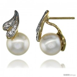 14k Gold Ribbon Lace Pearl Earrings w/ 0.06 Carat Brilliant Cut ( H-I Color VS2-SI1 Clarity ) Diamonds & 7mm White Pearls