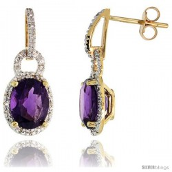 "14k Gold Stone Earrings, w/ 0.12 Carat Brilliant Cut Diamonds & 4.81 Carats 9x7mm Oval Cut Amethyst Stone, 7/8"" (23mm) tall"