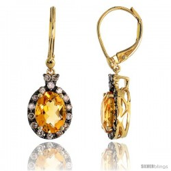 "14k Gold Lever Back Stone Earrings, w/ 0.38 Carat Brilliant Cut Diamonds & 2.44 Carats 8x6mm Oval Cut Citrine Stone, 1"" (25mm)"