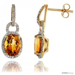 "14k Gold Stone Earrings, w/ 0.12 Carat Brilliant Cut Diamonds & 4.81 Carats 9x7mm Oval Cut Citrine Stone, 7/8"" (22mm) tall"