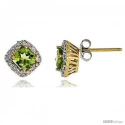 "14k Gold Stud Stone Earrings, w/ 0.30 Carat Brilliant Cut Diamonds & 1.30 Carats 5mm Cushion Cut Peridot Stone, 5/16"" (8mm)"