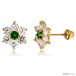 "14k Yellow Gold 5/16"" (9mm) tall Flower Stud Earrings, w/ Brilliant Cut Clear & Emerald-colored CZ Stones"