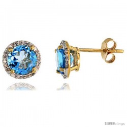 "14k Gold Stud Stone Earrings, w/ 0.12 Carat Brilliant Cut Diamonds & 2.95 Carats 7mm Blue Topaz Stone, 3/8"" (9mm)"
