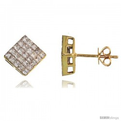 "14k Gold Square Stud Diamond Earrings, w/ 1.10 Carats Invisible Set Diamonds, 5/16"" (8mm)"