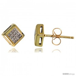 "14k Gold Square Stud Diamond Earrings, w/ 0.25 Carat Invisible Set Diamonds, 1/4"" (6mm)"