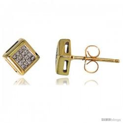 """14k Gold Square Stud Diamond Earrings, w/ 0.25 Carat Invisible Set Diamonds, 1/4"""" (6mm)"""