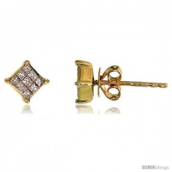 "14k Gold Square Stud Diamond Earrings, w/ 0.25 Carat Invisible Set Diamonds, 3/16"" (5mm)"