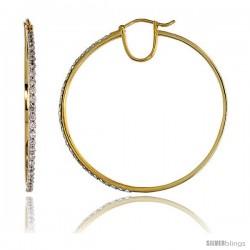 "14k Gold Large Diamond Hoop Earrings, w/ 1.08 Carats Brilliant Cut Diamonds, 1 9/16"" (39mm)"