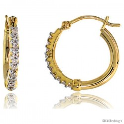 "14k Gold Diamond Hoop Earrings, w/ 0.18 Carat Brilliant Cut Diamonds, 1/2"" (12mm)"