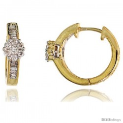 "14k Gold Diamond Huggie Earrings, w/ 0.33 Carat Baguette & Brilliant Cut Diamonds, 1/2"" (12mm)"