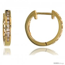 "14k Gold Diamond Huggie Earrings, w/ 0.14 Carat Brilliant Cut Diamonds, 1/2"" (12mm)"