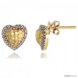 "14k Gold Hammered Finish Heart Diamond Earrings, w/ 0.16 Carat Brilliant Cut Diamonds, 3/8"" (9mm) tall"