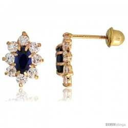 "14k Yellow Gold 3/8"" (10mm) tall Flower Stud Earrings, w/ Oval Cut Blue Sapphire-colored & Brilliant Cut Clear CZ Stones"