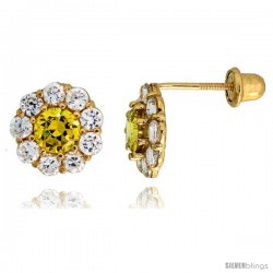 "14k Yellow Gold 5/16"" (8mm) tall Flower Stud Earrings, w/ Brilliant Cut Clear & Yellow Topaz-colored CZ Stones"