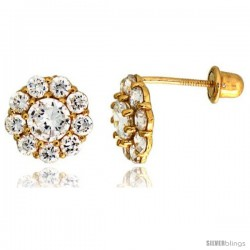 "14k Yellow Gold 5/16"" (8mm) tall Flower Stud Earrings, w/ Brilliant Cut CZ Stones"