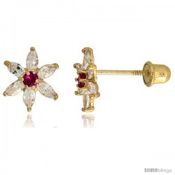 "14k Yellow Gold 5/16"" (8mm) tall Flower Stud Earrings, w/ Marquise Cut Clear & Brilliant Cut Ruby-colored CZ Stones"