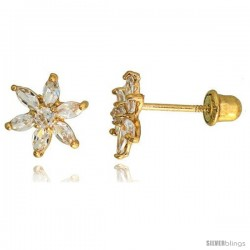 "14k Yellow Gold 5/16"" (8mm) tall Flower Stud Earrings, w/ Marquise Cut & Brilliant Cut CZ Stones"