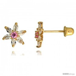 "14k Yellow Gold 5/16"" (8mm) tall Flower Stud Earrings, w/ Marquise Cut Clear & Brilliant Cut Pink Tourmaline-colored CZ Stones"
