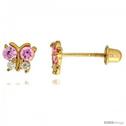 "14k Yellow Gold 3/16"" (5mm) tall Tiny Butterfly Stud Earrings, w/ Brilliant Cut Clear & Pink Tourmaline-colored CZ Stones"