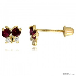 "14k Yellow Gold 3/16"" (5mm) tall Tiny Butterfly Stud Earrings, w/ Brilliant Cut Clear & Ruby-colored CZ Stones"