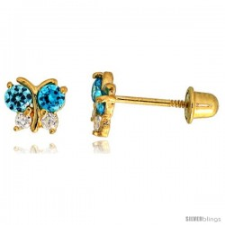 "14k Yellow Gold 3/16"" (5mm) tall Tiny Butterfly Stud Earrings, w/ Brilliant Cut Clear & Blue Topaz-colored CZ Stones"