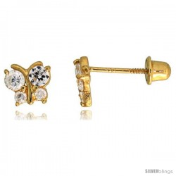 "14k Yellow Gold 3/16"" (5mm) tall Tiny Butterfly Stud Earrings, w/ Brilliant Cut CZ Stones"