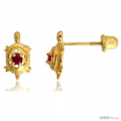 "14k Yellow Gold 3/8"" (9mm) tall Tiny Turtle Stud Earrings, w/ Brilliant Cut Ruby-colored CZ Stone"