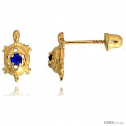 "14k Yellow Gold 3/8"" (9mm) tall Tiny Turtle Stud Earrings, w/ Brilliant Cut Blue Sapphire-colored CZ Stone"