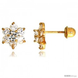"14k Yellow Gold 1/4"" (7mm) tall Flower Stud Earrings, w/ Brilliant Cut CZ Stones"