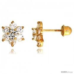 "14k Yellow Gold 1/4"" (7mm) tall Flower Stud Earrings, w/ Brilliant Cut CZ Stones"